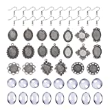 DROLE 220Pcs Bezel Earrings Blanks Cabochon Settings Kit-60Pcs Earring Blanks 60Pcs Cabochons for Jewelry Making and 100Pcs Earring Wire Hooks Antique Silver Total 220Pcs (Tamaño: Mixed-Antique Silver)