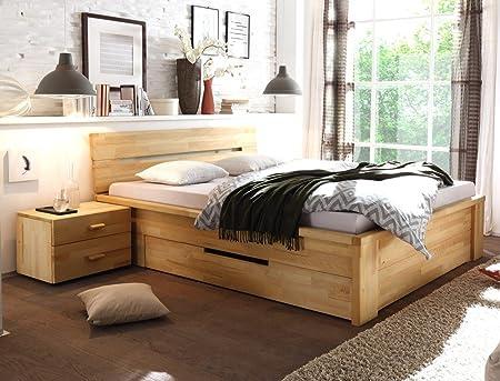 Massivholzbett Caspar + Nachttisch Kernbuche geölt Stauraumbett Holzbett Bett Nachtkonsole Nako Schlafzimmer, Liegefläche:180 x 200 cm;Set-Inhalt:Bett