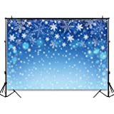 Funnytree 7x5ft Blue Winter Snow Bokeh Photography Backdrop Christmas Shiny Sparkle Photographic Background Xmas Snowflake Baby Portrait Party Decorations Photobooth Banner Photo Studio Props (Color: style7, Tamaño: Thin vinyl 7'x5'/5'x7')