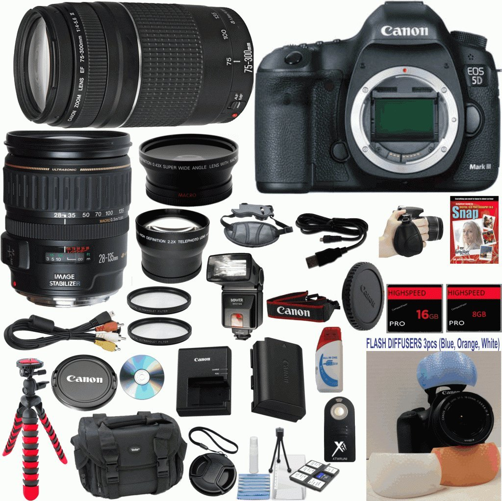 Canon EOS 5D Mark III 22.3 MP Full Frame CMOS Digital SLR Camera with Canon 28-135mm IS USM Lens Celltime Exclusive Bundle with Canon 75-300mm III Zoom Lens  ..