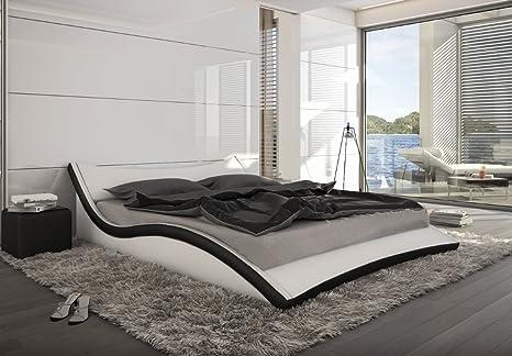 Designer Leder Bett Polsterbett geschwungenes Lederbett weiss oder schwarz wellenförmig modern gewelltes Bett gunstig (180x200 cm)