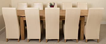 Cleveland Large Extending Solid Oak Kitchen Dining Room Table (200 (280) H x 90 W x78cm H ) with 10 Lola Leather ivory