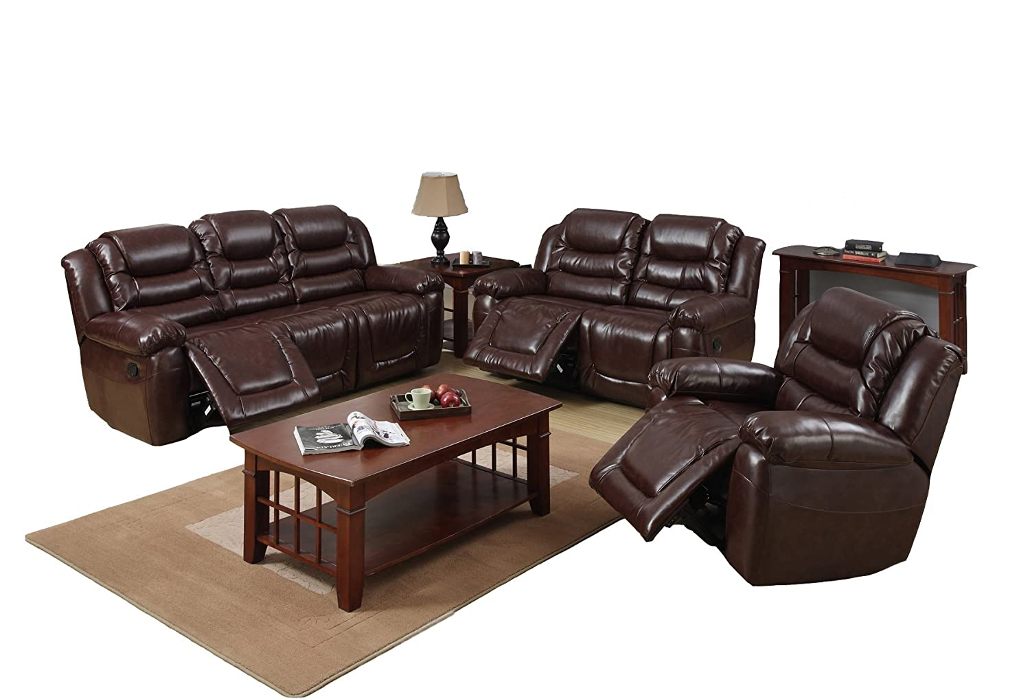 Beverly Furniture Birmingham Bonded Leather 3-Piece Reclining Sofa Set with 5 Recliners and Rocker Chair