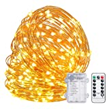 TingMiao Fairy Lights 32.8ft 100 LED String Lights Battery Operated with Remote Waterproof Copper Wire Lights for Indoor Decorative Lights (Warm White
