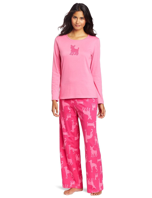 Hue Sleepwear Women's Rhinestone Long-Sleeve Pajama Set