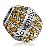 JMQJewelry Birthday Charms Bead For Bracelets (Yellow, November Birthstone)