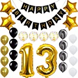 Happy 13th Birthday Banner Balloons Set for 13 Years Old Birthday Party Decoration Supplies Gold Black (Color: 13th, Tamaño: 25)