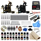 ITATOO Complete Tattoo Kit for Beginners Tattoo Power Supply Kit 20 Tattoo Inks 50 Tattoo Needles 2 Pro Tattoo Machine Kit Tattoo Supplies TK1000013