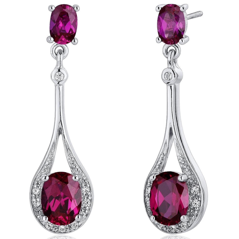 Revoni Damen baumelnde Ohrringe 925 Sterlingsilber Cubic Zirkonia Diamant Rubin 4.50 Karat rot günstig kaufen