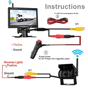 LeeKooLuu Wireless Built-in Backup Camera and 7'' Monitor Kit Rear View Camera System Working Over 100 ft Guide Lines Optional Waterproof Night Vision for RV/5th Wheel/Truck/Motorhome/Trailers/Campers
