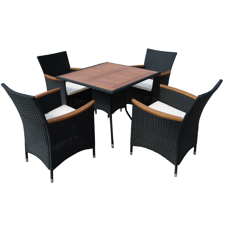 indoba® IND-70085-VASE5 - Serie Valencia - Gartenmöbel Set 5-teilig aus Eukalyptus Holz und Polyrattan - 4 Gartenstühle + 4 Sitzauflagen + quadratischer Gartentisch