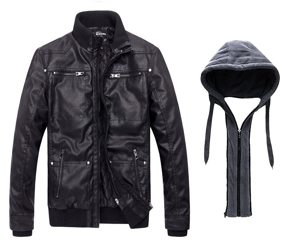 Wantdo Men's Leather Jacket with Removable Hood 1
