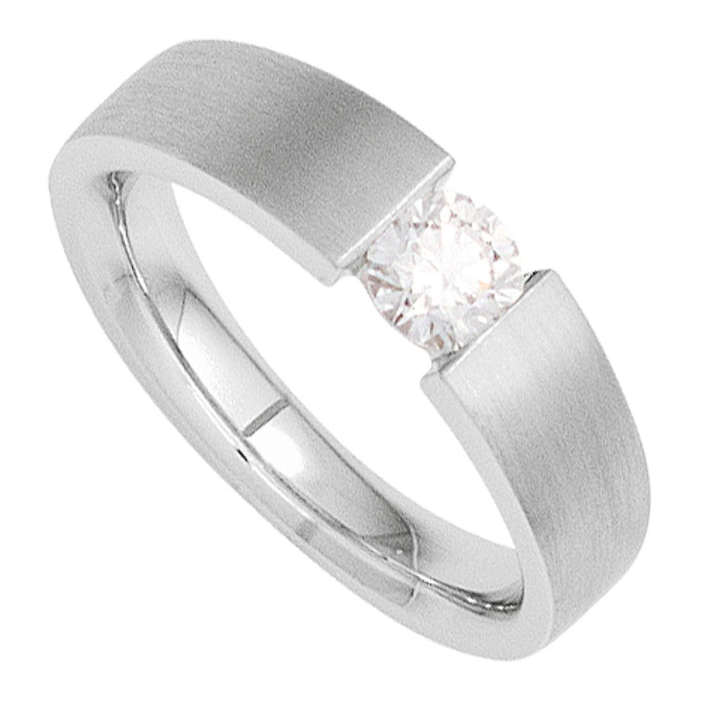 Damen Ring 585 Weißgold mattiert 1 Diamant Brillant 0,10ct. als Geschenk