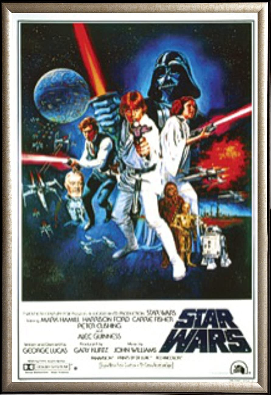 Star Wars: A New Hope Vintage 24x36 Dry Mount Poster Gold Wood Framed 0