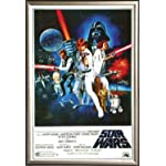 Star Wars A New Hope Vintage 24x36 Dry Mount Poster Gold Wood Framed