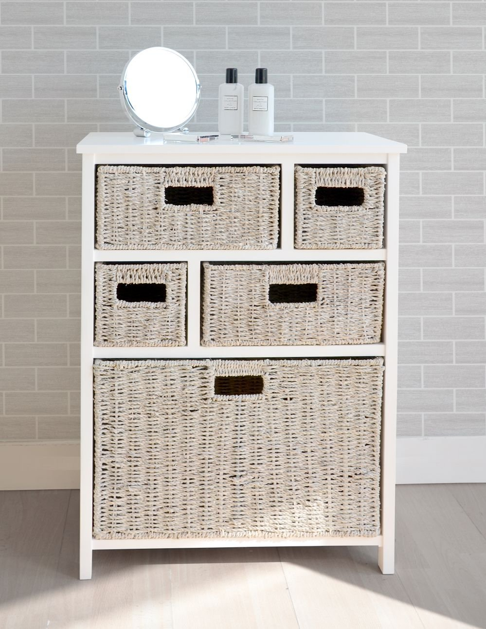 Tetbury White Storage Unit with 5 Whitewash Basket Drawers, FULLY ASSEMBLED hallway, bathroom storage unit       review and more information
