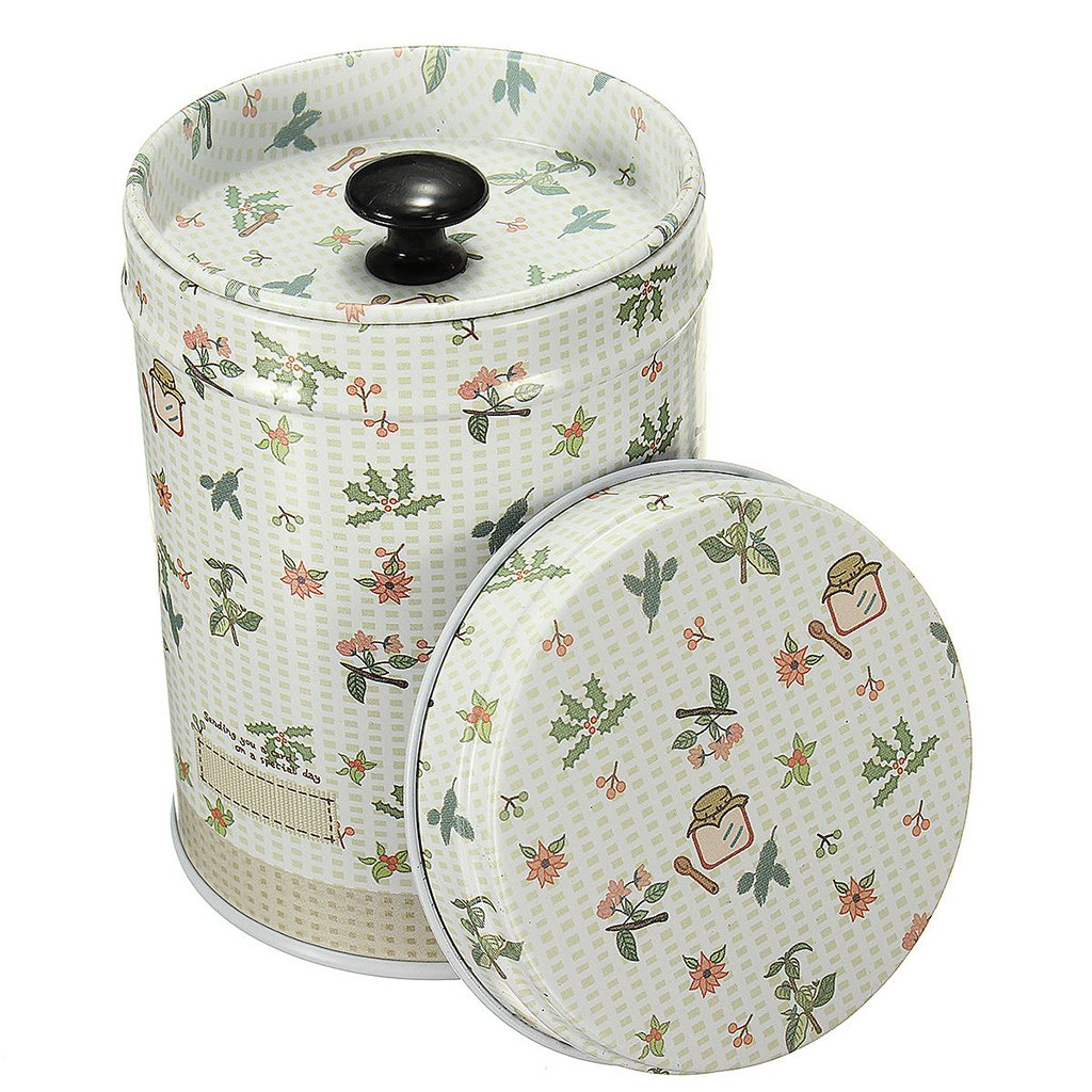 Cylinder Double Cover Tea Canister Container Food Caddy