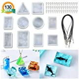 10PCS Sea Wave Style Resin Molds, LET'S RESIN Epoxy Resin Silicone Molds, Resin Casting Molds with 100PCS Screw Eye Pins and 20PCS Black Waxed Necklace Cord (Color: Sea Wave Resin Mold)