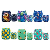 ALVABABY Cloth Diaper, One Size Adjustable Washable Reusable for Baby Girls and Boys 6 Pack with 12 Inserts (Sets 6DM05, All in one) (Color: Sets 6DM05, Tamaño: All in one)