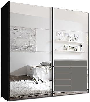 Kleiderschrank Schwebeturenschrank, 225 x 220 x69 cm inkl. 5 Einlegeböden Schwarz Spiegel