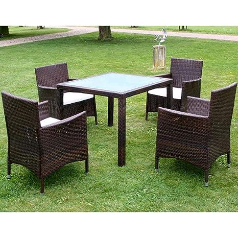 Set mobili da giardino in rattan Marrone 1 Tavolo 4 Sedie