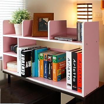AJZGF Scaffale da mensola in combinazione con libreria in legno massello per scrivania, scaffale semplice da scaffale Ripiani ( Colore : Rosa )