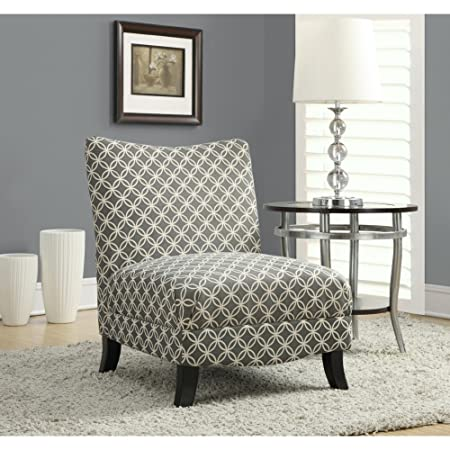 "GREY "" CIRCULAR "" FABRIC ACCENT CHAIR (SIZE: 32L X 27W X 32H)"