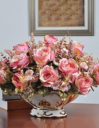 Flores falsas flores de simulación de flores conjunto de arreglos florales sala de estar retro mesa de comedor falso flores decoración ( Color : A )
