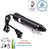 mofa Embossing Heat Pen,Mini Heat Gun,Hot Air Pen Tools Shrink Pen with Stand For DIY Embossing And Drying Paint Multi-Purpose Electric Heating Nozzle 130W 110V (Black,Black) (Color: Black,Black)