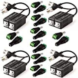 8 Pack Passive Video Balun Transceiver for TVI/CVI/TVI/AHD/960H CCTV Camera, ZUEXT 8 Pairs Male & Female BNC/DC Power Connector Adapter 12V 2.1x5.5mm for LED Light Strips (Male BNC to UTP CAT5 Cable)