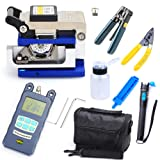 RanBB Fiber Optic FTTH Tool Kit with Cable Cutter Stripper FC-6S Fiber Cleaver and Optical Power Meter Locator
