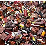 30 Pack Cute Candy Slime Beads Fruit Dessert Ice Cream Resin Charms Slices Flatback Buttons for Handcraft Accessories Scrapbooking Phone Case Decor (Chocolate) (Color: Chocolate, Tamaño: 10mm-25mm/0.39inch-1inch)
