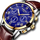 Mens Watches Waterproof Luxury Brand Chronograph Sports Watches Men Full Steel Quartz Business Casual Wrist Watch Leather (Color: 2302PD, Tamaño: M)
