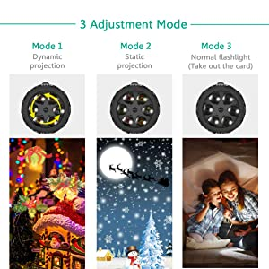 Christmas LED Projector Lights - RockBirds 12 Slides Projection Holiday Lights, Battery-Operated 2 in 1 Decoration Light & Handheld Flashlight for Halloween Easter Home Party Birthday Decoration (Color: Black)