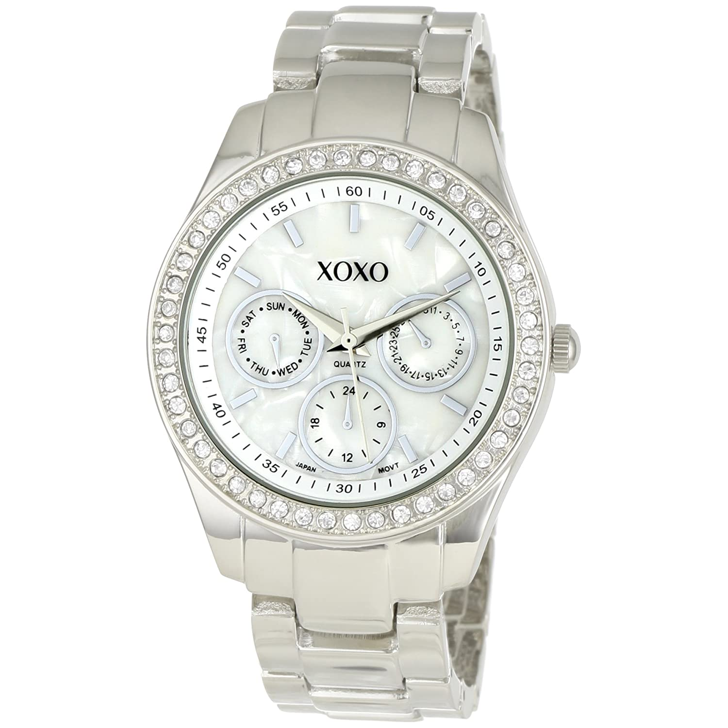 Women 39 s watches xoxo women 39 s xo5301a rhinestone accent silver tone bracelet watch was sold for for Watches xoxo