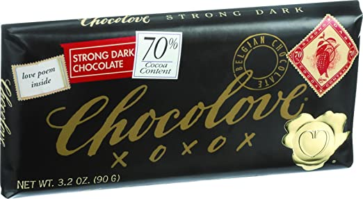 Chocolove Xoxox Premium Chocolate Bar - Dark Chocolate - Strong - 3.2 oz Bars - Case of 12 - Kosher - 70% Cocoa