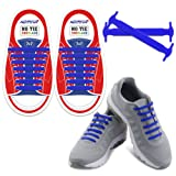 HOMAR Reflective Kids No Lock No Tie Shoelaces High Performance - Best in No Tie Shoelace Replacement Accessories - Athletic Flat Shoe Laces - Blue