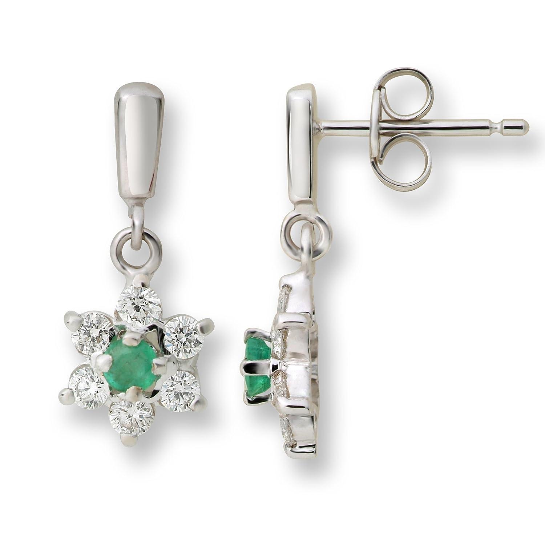 Miore Damen-Ohrringe 9 Karat (375) Weißgold  2 Smaragde umrahmt von 12 Brillanten ca. 0,42ct Weiß/vs MA905EW günstig online kaufen