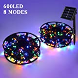 JMEXSUSS Solar String Light 600LED 206.7ft 8 Modes Solar Christmas Lights Waterproof Outdoor Fairy String Lights for Gardens, Homes, Wedding, Party, Christmas Tree Outdoors (600LED, Multicolor) (Color: 600LED-Multicolor-1Pack, Tamaño: 600LED)