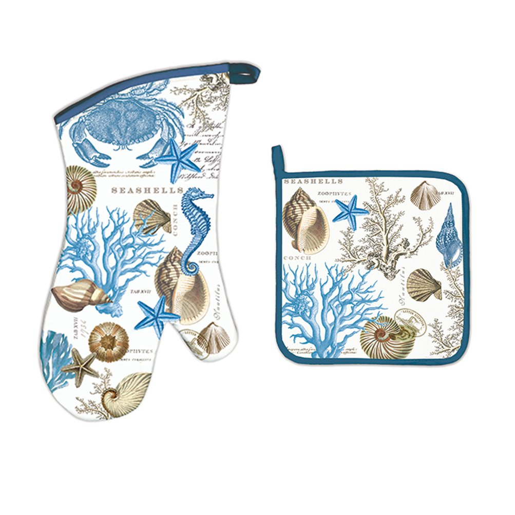 Michel Design Works Bundle - 2 Items: Seashore Oven Mitt & Seashore Pot Holder seashore