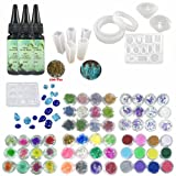 UV Epoxy Resin Jewelry Kit Cristal Non-Toxic, 3 Epoxy + 11 Molds 31 Shapes + 100 Rings + 12 Dried Flowers + 12 Coral Flowers + 12 Glassines + 12 Holographic Paper + 12 Glitters Pigment Powder (Color: 3*Epoxy + 11*Mould + 100*Rings + Decorative Accessories)