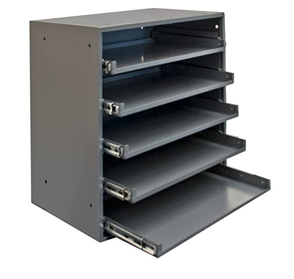 375 lbs Capacity Durham 305B-95 Cold Rolled Steel Heavy Duty Triple Track Bearing Slide Rack for 5 Large Compartment Boxes Pack 2- 12-1//2 Length x 20-1//2 Width x 21 Height,