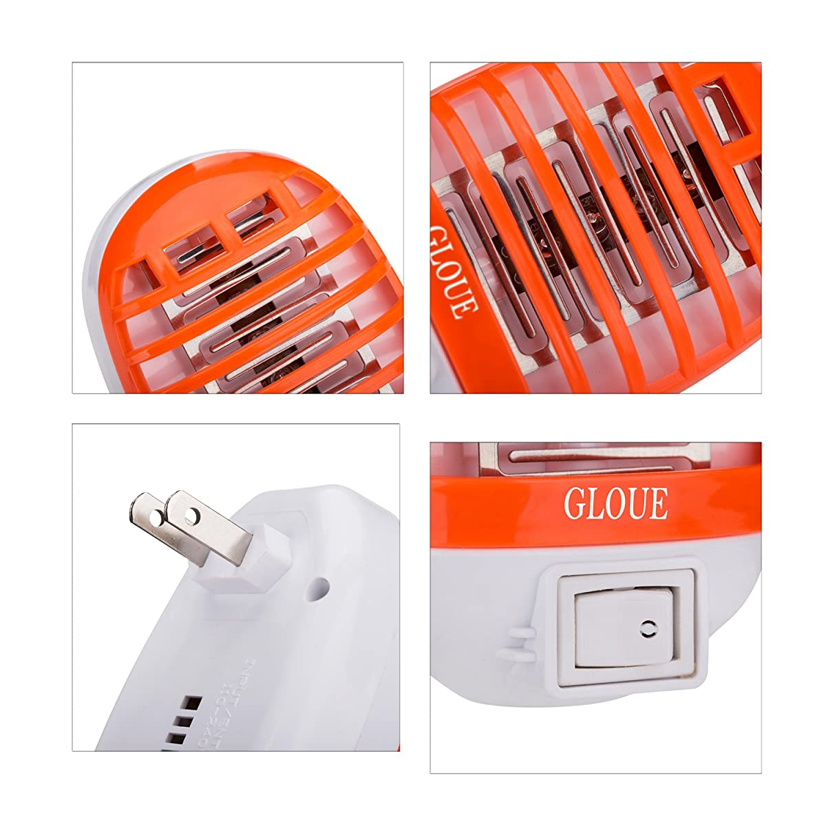 GLOUE Bug Zapper Electronic Insect Killer,Mosquito Killer Lamp,Eliminates Most Flying Pests! Night Lamp (Orange)