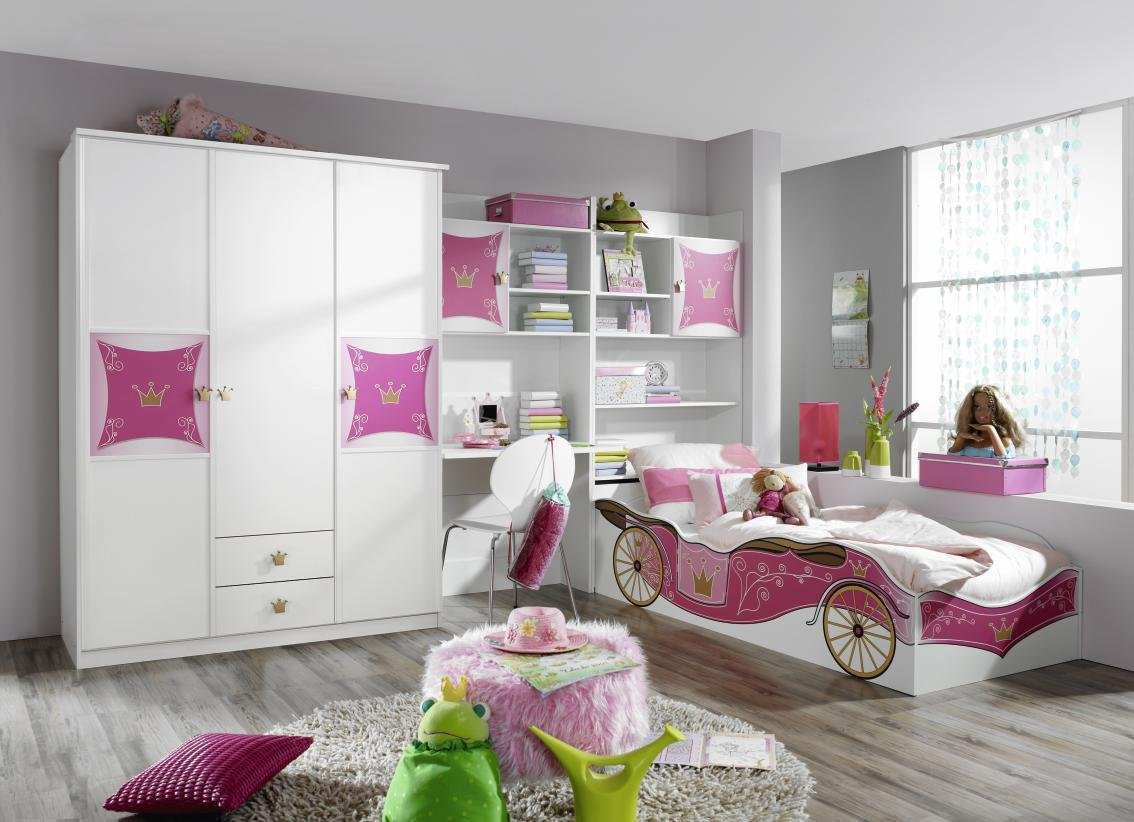 Rauch Kate Jugendzimmer Kombination 4-tlg. in alpinweiss – rosa