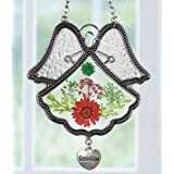 Grandmother Angel Sun Catcher - Pressed Flowers in Glass Angel Shaped Suncatcher with Silver Heart Grandma Charm - 4 1/2