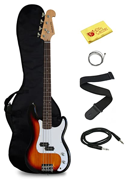 Full Size Electric Bass Guitar with Gig Bag and Accessories