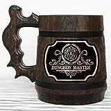 Dungeon Master Mug. Gamer Mug. Wooden Beer Tankard. Gift for Boyfriend. Wood Stein Dungeons & Dragons Mug. Wooden Beer Mug. D&D Tankard. Geek Gift. Gifts for Gamer. Gift for Him #145/0.6L / 22 ounces (Color: Brown)