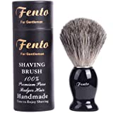 Fento Pure Badger Hair Shaving Brush-For Double Edge Razor, Safety Razor,Black Handle (Color: Black)