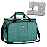 HOMEST Sewing Machine Carrying Case with Multiple Storage Pockets, Universal Tote Bag with Shoulder Strap Compatible with Most Standard Singer, Brother, Janome (Green) (Color: Green)