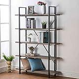 HSH Furniture 5-Shelf Vintage Industrial Rustic Bookshelf, Wood and Metal Bookcase, Open Etagere Book Shelf, Dark Oak (Color: Dark Oak, Tamaño: 5-Shelf)
